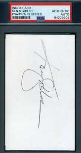 Ken Stabler PSA DNA Coa Hand Signed 3x5 Index Card Autograph