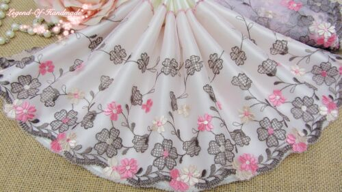 """6.5/""""*1Y Embroidered Tulle Lace Trim~Light Tulip Pink+Brown~Breath of Spring~SALE"""
