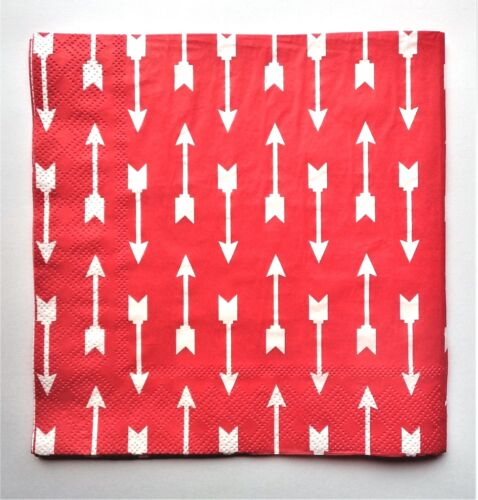 ARROW LUNCH NAPKINS RED AND WHITE TRIBAL PARTY TABLE DECORATIONS  BOHO INDIAN