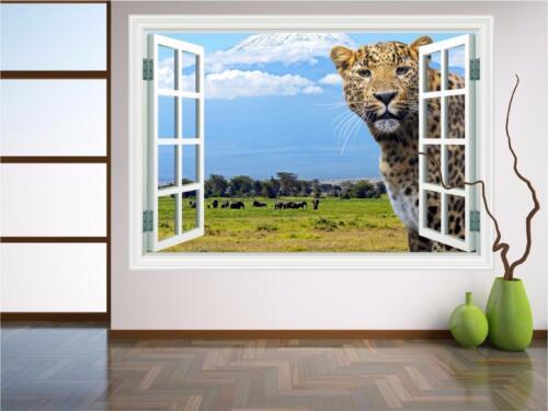Ventana Safari Leopardo Animal Print Mural Pared Arte Pegatina Calcomanía transferencia P4H
