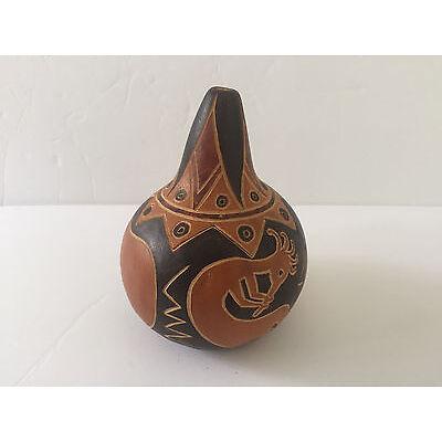 Peruvian Signed Pedro Osores M God of Fertility Kokopelli Flute Player Gourd Art