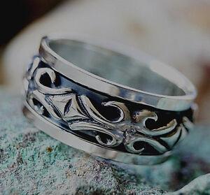 Ritter-Drehring-61-64-66-Breit-Silber-Ring-Massiv-Dick-Silberring-Muster-Antik