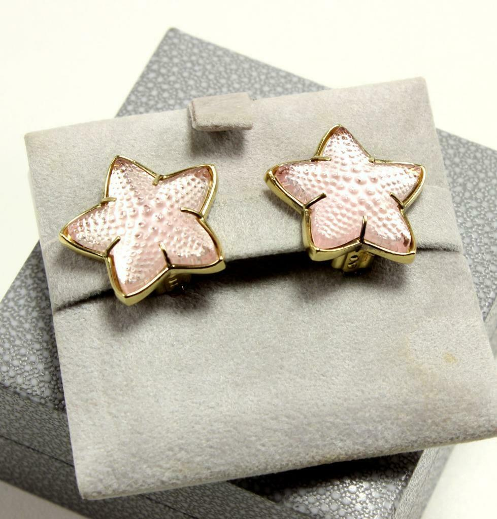 LALIQUE STARFISH FROSTED PINK TONE CRYSTAL gold PLATED CLIP-ON EARRINGS