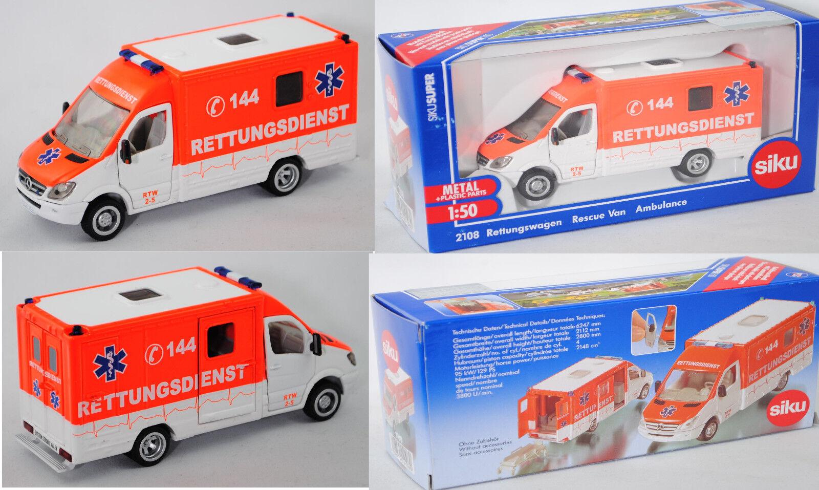Siku 2108 03900 Mercedes-Benz Sprinter Rettungswagen Rettungsdienst 144 1 50 50 50 151f51
