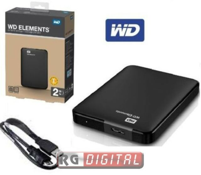 "HARD DISK ESTERNO 2,5"" WD ELEMENTS WESTERN DIGITAL 2TB USB 3.0 WDBU6Y0020BBK"