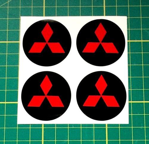 4 x 70mm Adesivi Cerchi in lega rosso e nero si adatta MITSUBISHI center cap bAdge Trim