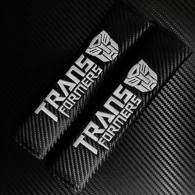 Car Autobot  Transformers Black Carbon Fiber Seat Belt Shoulder Pad 2pcs set