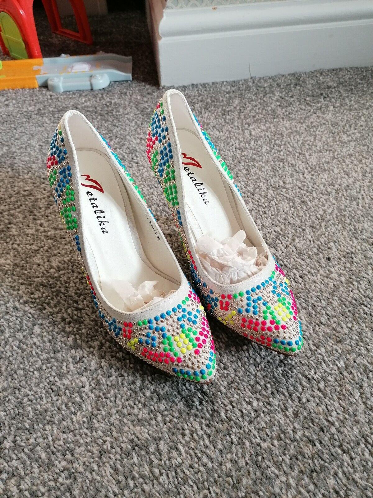 - Gorgeous Neon Multi Colour bead court shoe size 2.5 new