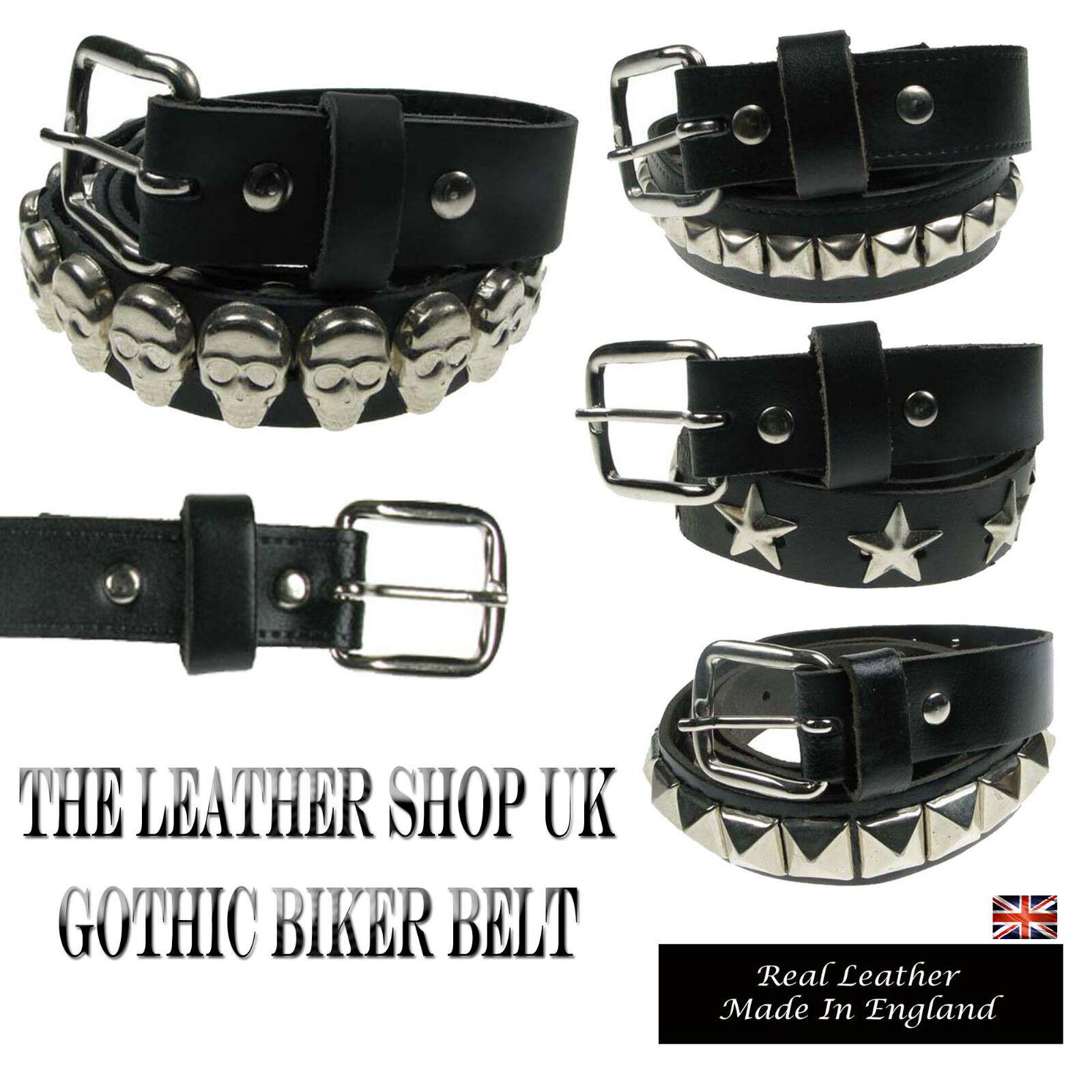 25 mm Negro Nuevo De Alta Calidad Gothic Punk Con Tachas Real Cinturones De Cuero Hecho En Reino Unido