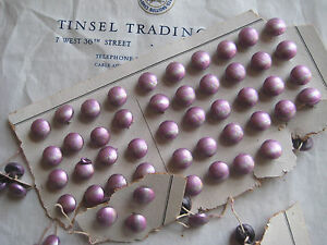 Vintage Antique Pink Glass Floral Buttons Glass Shank Original Card 1 Doz