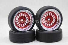4x 1/10 New HIGH SPEED Drift BBS Red Chrome RC Car Wheel Tyres / Tires 6mm OS