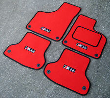 Red/Black SUPER VELOUR Car Mats to fit Audi A3 8P (03-12) + S-Line Logos (x4)