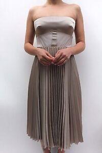 Karen-Millen-Champagne-Strapless-Pleat-Midi-Wedding-Cocktail-Party-Dress-6-to-16