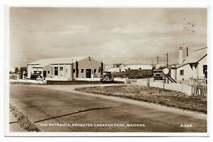 POSTCARDS-SCOTLAND-AYRSHIRE-MAIDENS-RP-The-Entrance-Redgates-Caravan-Park
