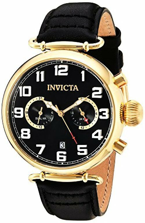 Invicta 22981 Mens Aviator Quartz Stainless Steel and Leather Casual Watch,