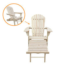 Outdoor Patio Adirondack Wood Chair Foldable w/ Pull Out Ottoman Deck Furniture