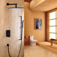Wall-Mount 8 Inches Rain Shower Head & Slide Bar Hand Shower System in Black New