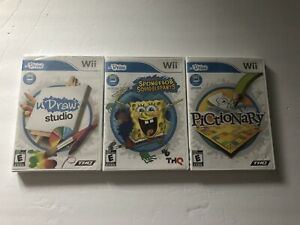Lot-Of-3-U-Draw-Nintendo-Wii-Games-Spongebob-Squigglepants-Pictionary
