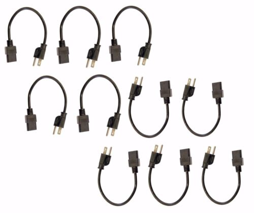 10 Pack of C13 to US Outlet AC Power Cord 1/' Foot Short 18AWG for PC Computer