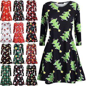 Womens-Ladies-Christmas-Xmas-Reindeer-Santa-Penguin-Snowman-Party-Swing-Dress
