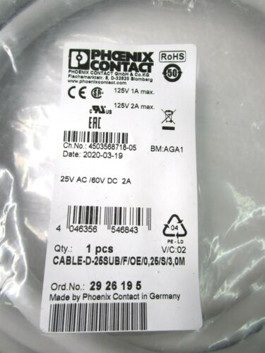 Details about  /PHOENIX CONTACT D-SUB CABLE-D-25SUB//F//OE//0,25//S//3,0M 2926195