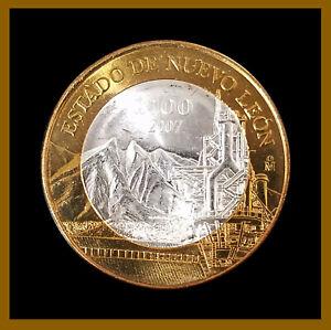 Mexico-100-Pesos-Silver-Center-Coin-2007-Bimetallic-Estado-de-Nuevo-Leon