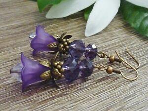 Women-039-s-Vintage-Style-Purple-Trumpet-Lily-Flower-Crystal-Dangle-Earrings