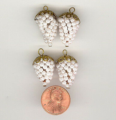 4 Vintage PEARL GRAPE CLUSTER With Brass Filigree Cap Charm Pendants 20x14mm
