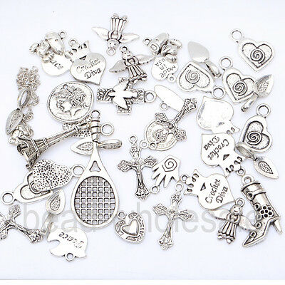 New Wholesale 50g(about 30pcs) Assorted Antique Silver Various Shaped Pendant