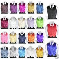 23 Satin color Vest + Long Tie Necktie Formal Boys Teens Tuxedo Suits Size: 8-20