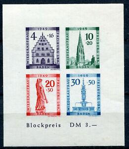 BADEN-FRENCH-OCCUPATION-ZONE-Mi-Block-1B-mint-MNH-stamp-sheet-CV-90-00
