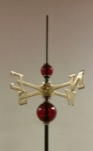 Full weathervane set-up// 2.5/'/' /& 4.5/'/' GLASS balls// roof mount//ROD/&DIRECTIONALS