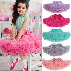 2a77b9da74672 Details about Baby Girls Pettiskirt Kids Chiffon Fluffy Tutu Dance Party  Christmas Skirt 1-10Y