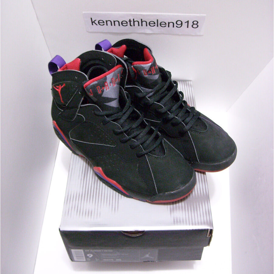 NEW 2002 NIKE AIR JORDAN 7 VII RETRO RAPTOR BLACK DARK CHARCOAL TRUE RED SIZE 9