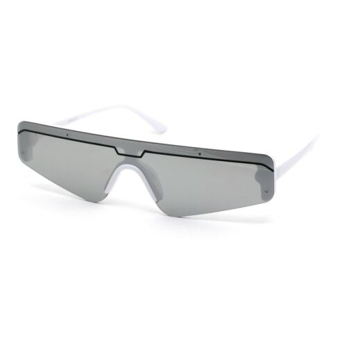 Retro Futurism Flat Top Narrow Shield Plastic Sunglasses