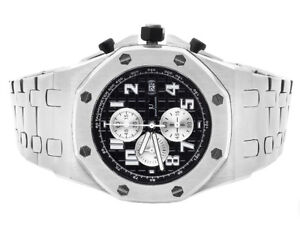 Men-039-s-Jewelry-Unlimited-Solid-White-Gold-Steel-Black-Dial-Chronograph-Watch