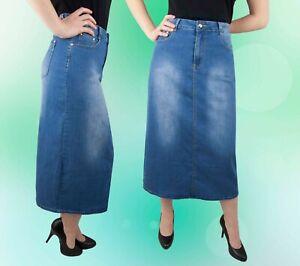 wholesale dealer 0ac12 06f15 Details zu Damen Rock Jeansrock Jeans Blau Lang Midirock Midi 42 44 46 48 50