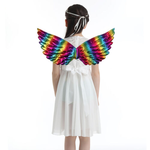Kids Unisex Glossy Metallic Angel Wings for Halloween Cosplay Party Costume Cute