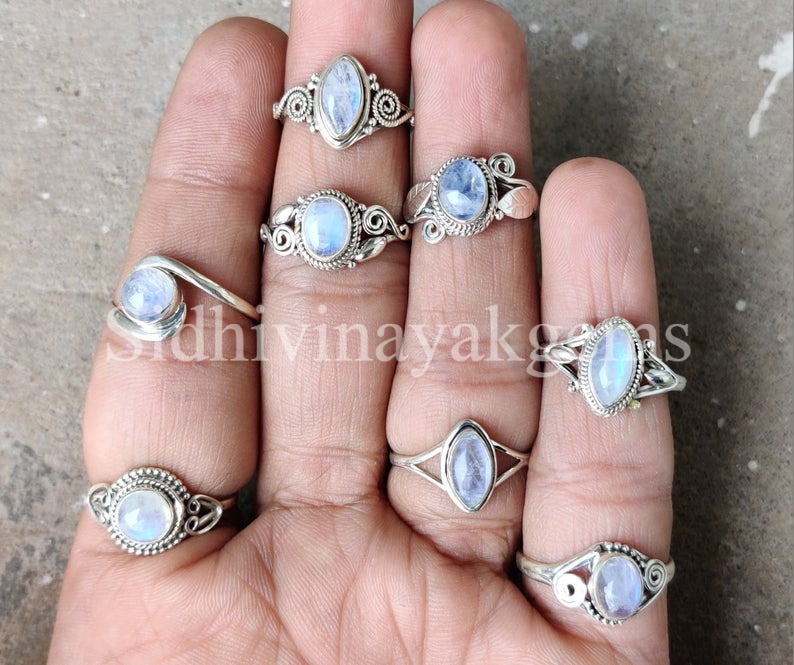 50 Pcs. Natural Blue Fire Marquise & Mix Moonstone 925 Silver Plated Rings Lot