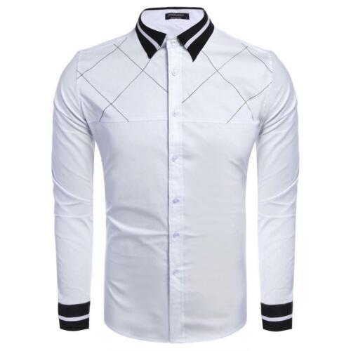 Mens Long Sleeve Button-Down-Check Slim Kontrast Farbe Casual Hemd mit GRHA 03