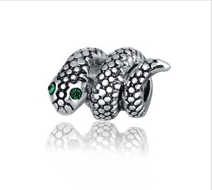 5Pcs Vert Lunettes argent Python Charm Bead Fit European Bracelet ju762