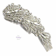 Bridal Wedding Vintage Art Deco Angel Wing Silver Hairpiece Hair Comb Vine HV03