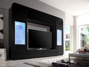 wohnwand kino schwarz wohnzimmer anbauwand schrankwand medienwand 109768. Black Bedroom Furniture Sets. Home Design Ideas