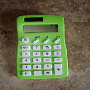 Solar Power 8-Digit Calculator Lime Green Case with Multicolored Operation Keys