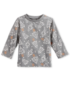First Impressions Rocket-Print Long-Sleeve T-Shirt Retail $13.00