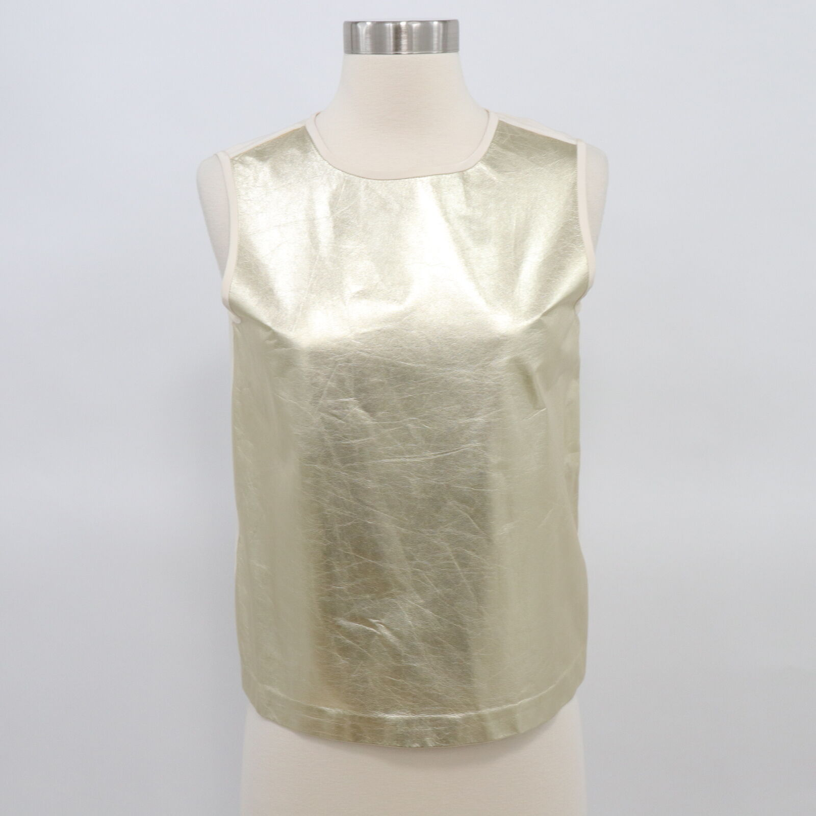 Raoul Leather Tank oben Shell Hemd daMänner Gold Ivory Silk US6 FR36 Metallic