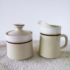 Carousel Stoneware Creamer & Sugar Set White And Cream Color Japan #801 Vintage