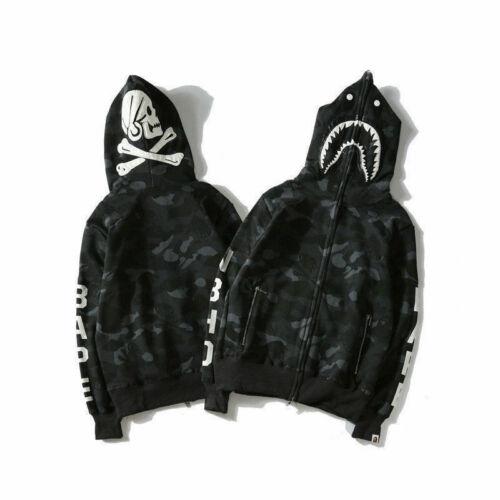 BAPE A BATHING APE Hoodie Sweater Black Shark Head Skull Full Zip Jacket Coat