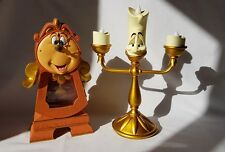 New Beauty And The Beast Set of Cogsworth Clock & Lumiere Light Up Figurine