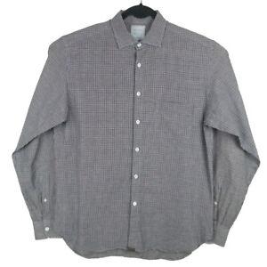 Billy-Reid-Blue-Brown-White-Linen-Cotton-L-S-Standard-Cut-Shirt-Size-Medium